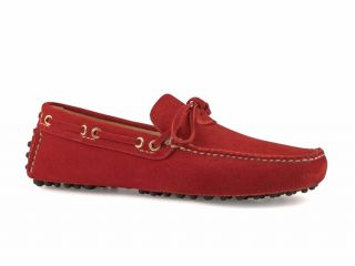 Car Shoe Mens Bright Red Suede Leather Driving Mocassins Shoes Size US