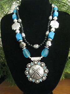 Western Cowgirl Necklace Concho with Crossed Rifles Rodeo Jewelry