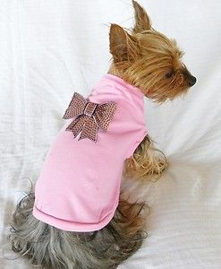 New Dog Cat Clothing Light Pink Tee Shirt 100 Cotton Bling Bow Pink