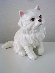 Adorable Lefton White Persian Cat Figurine C 1970s
