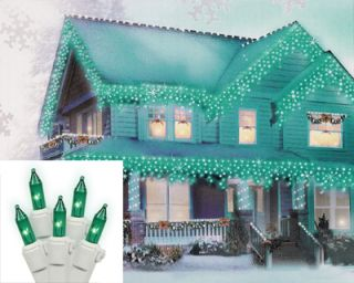 items set 100 green mini icicle christmas lights white wire
