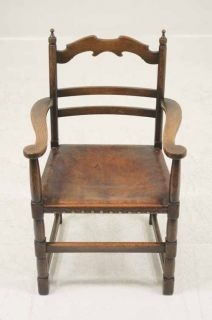Scottish Oak Ladder Back Dining Chairs With Original Leather Seats