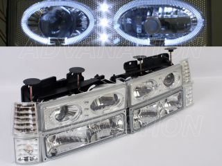 90 92 GMC Tahoe Yukon Chrome EURO Projector Halo Ring LED +Bumper