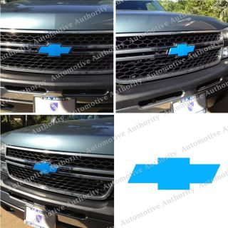 Chevy Silverado Blue Bowtie Grille Emblem Cover Wrap Decal Sticker 03