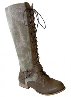 Army Chic Canvas Knee High Lace up Military Combat Boots Khaki