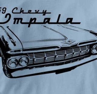 Chevy Impala 1959 Classic Blue Chevrolet Car T Shirt XL