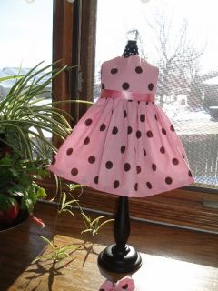 Pink Chocolate Polka Dot Dress Fits 18 American Girl Doll Clothes