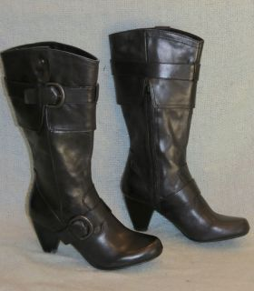 BORN GERMAINE WOMENS BLACK LEATHER BOOT SZ 9M NEW