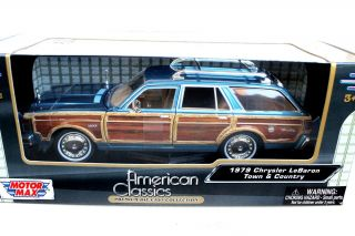 Motor Max 1979 Chrysler LeBaron Town Country 1 24 Woody Blue Diecast