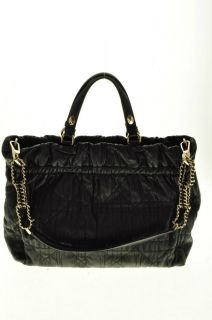 Christian Dior Leather Convertible Medium Handbag Black Bag