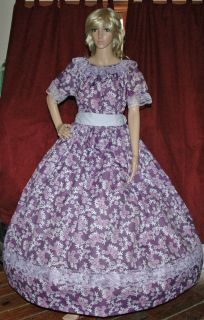 CIVIL WAR SOUTHERN BELLE PIONEER VICTORIAN Purple Floral Costume Dress