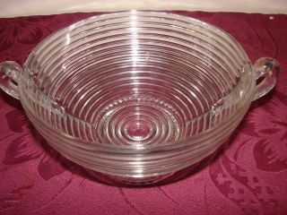 Retro Clear Glass Bowl w Handles Maker Unknown