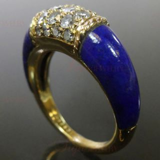 VAN CLEEF & ARPELS 18k Yellow Gold Diamond Lapis Lazuli Ring