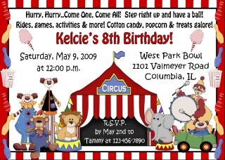 12 Carnival Circus Clowns Invitations Birthday Party