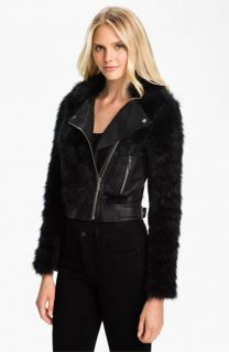 MICHAEL Michael Kors Faux Fur & Faux Leather Jacket