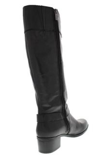 Bandolino New Codi Black Leather Block Heel Buckle Riding Boots Shoes