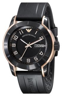 Emporio Armani Rose Gold & Black Rubber Strap Watch