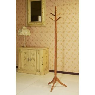Oak Finish Wood Hall Tree Style Coat Hat Rack Stand Antique Style NEW