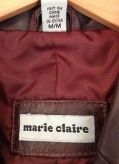 Leather Blazer & Skirt Suit Burgundy Medium Size 5 Marie Claire Jacket