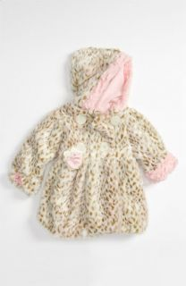 Corky & Company Leopard Print Faux Fur Coat (Infant & Toddler)