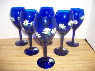 COBALT BLUE HAND PAINTED DAISY CHAMPAGNE WINE GLASS STEM BAR WARE