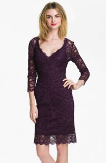 Nicole Miller Illusion Sleeve Lace Overlay Sheath Dress