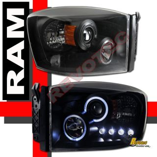 DODGE RAM 1500 2500 HALO PROJECTOR HEADLIGHTS & LED TAIL LIGHTS BLACK