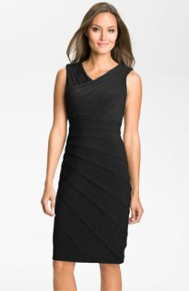 Adrianna Papell Asymmetrical Pleat Sheath Dress (Plus)