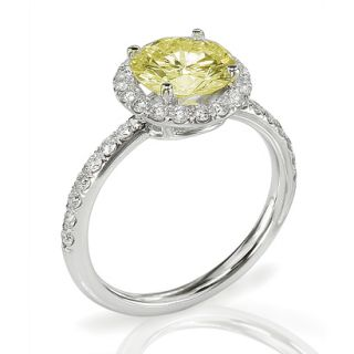 Fancy Yellow VS2 Round Brilliant Cut Diamond Engagement Ring WG
