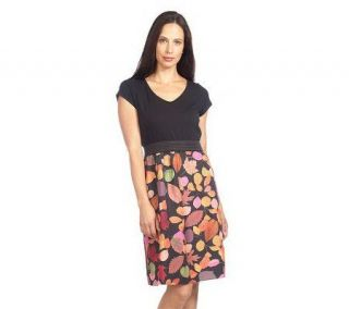Isaac Mizrahi Live Short Sleeve Leaf Print Combo Dress —