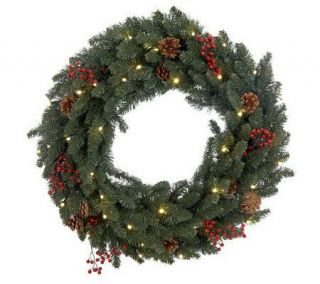 Bethlehem Lights 30 Red Berry Wreath with Timer —