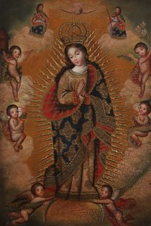 Lady of Immaculate Conception Original Signed Cuzco Art Oil Painting