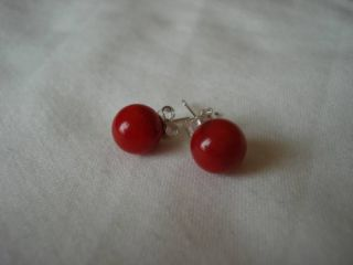 925 Sterling Silver Red Coral Stud Earrings 8mm