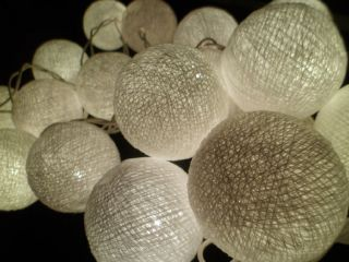 20pcs Cream White Cotton Balls String Lights Fairy Home Decor Wedding