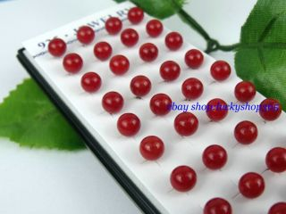 Wholesale 40pcs Silver Pierced Red Coral Stud Earrings