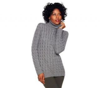 Isaac Mizrahi Live 2 Ply Cashmere Cabled Turtleneck   A225553