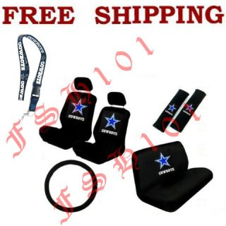 New NFL Dallas Cowboys Car Seat Covers Steering Wheel Cover & Lanyard