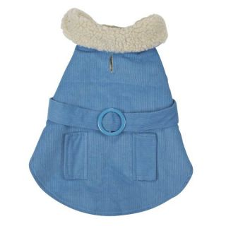 XX Small Blue Warm Sherpa Corduroy Coat Dog or Puppy