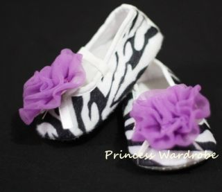 Infant Baby Girls Zebra Crib Shoes Purple Rose 0 18mos