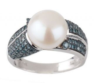 AffinityDiamond 1/2 ct tw Blue & 10mm Cultured Pearl Ring, Sterling