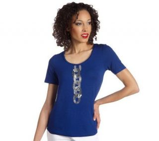 Isaac Mizrahi Live Short Sleeve Sequin Detailed Top —