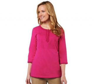 Isaac Mizrahi Live 3/4 Sleeve Embroidered Knit Henley   A216057