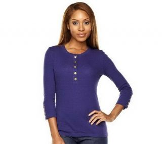 Isaac Mizrahi Live 3/4 Sleeve Knit Henley Top with Button Detail