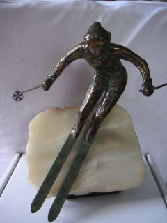 Curtis Jere Original Sculpture of a Skier with Original Sticker on