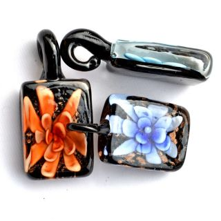 lots 20pcs square flower murano glass beads pendants fit necklace