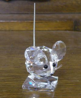 Swarovski Crystal Large Mouse Figurine w Spring Tail