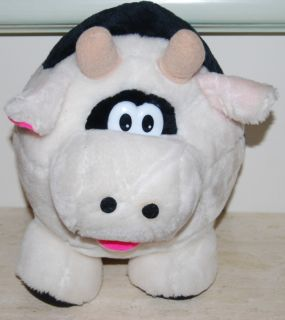 Cloud 9   12 tall Stuffed Animal Plush Black and White Fat Cow