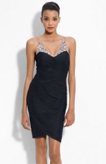 Adrianna Papell Illusion Bodice Mesh Sheath Dress