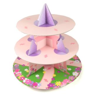 pink/purple 3 TIER CUP CAKE STAND cardboard / pretty castle design