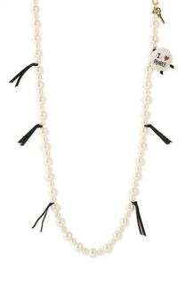 Betsey Johnson Iconic Collection Long Faux Pearl Necklace